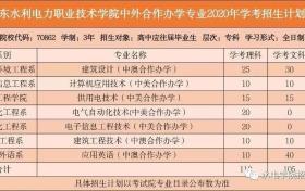 广东水利电力职业技术学院2020年学考招生简章